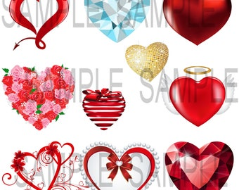 Printable  Wall Art  Valentines Day Heart Images to make collages cards and gifts for your Valentine's Day Projects Print over 8x10 Inches