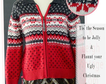 Ugly Christmas Sweater, Tacky Christmas Cardigan, Vintage Christmas Jumper, Holiday Party Nordic Snowflake Sweater Women's Petite Size Small