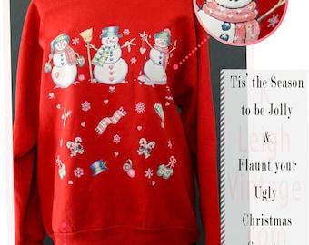 Ugly Christmas Sweater, Ugly Christmas Jumper, Holiday Sweater, 80s Puffy Sweater, Vintage Christmas Snowmen Sweatshirt, Large Sweatshirt