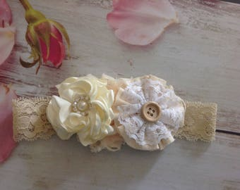 Newborn Girls Couture headband-photo prop,Ivory lace headband