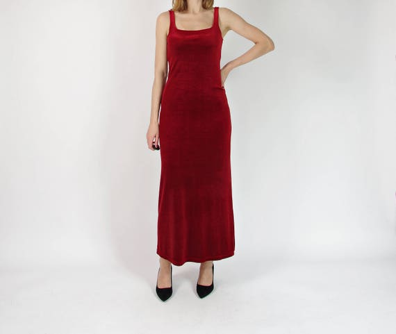 SALE! 90s Red wine velour long party dress / size S-M