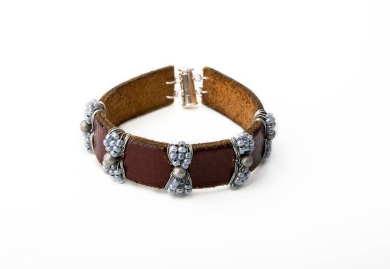 Brown  Leather Bracelet from Recycled Belt