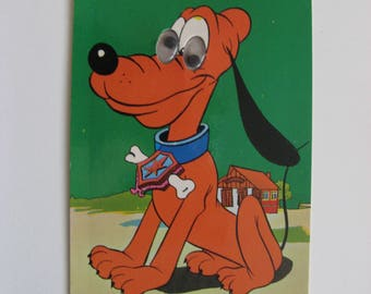 Vintage postcard with moving eyes;  Pluto the dog, Walt Disney, unused, graviche biondetti verona