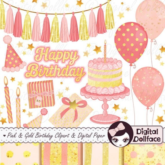 Pink And Gold 1st Birthday Clipart Papers Happy Clip