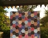 Modern Handmade Quilt | Floral Quilt | Aqua Blue Peach Quilt | Handmade Quilt | Lap Quilt | Hexagon Quilt