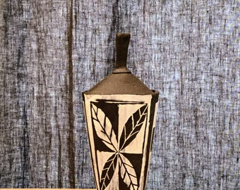 Tapered Square Lidded box with leaf artwork