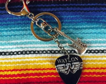 Waylon and Guitar Pick Key Chain