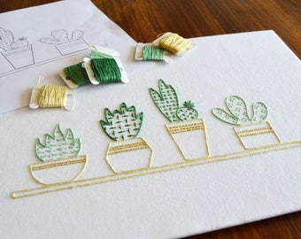 Succulents on a Sill hand embroidery pattern, modern embroidery, succulent, cactus, embroidery patterns, embroidery PDF, PDF pattern