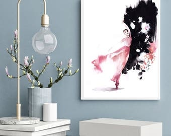 Ballerina in Pink Original Watercolor Painting, Ballerina Painting, Ballet Dance Art, Abstract Background, painting of ballet dancer