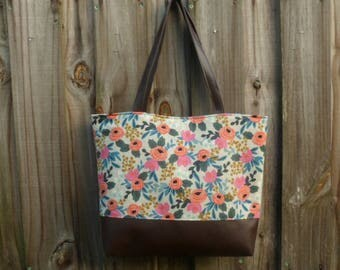 Rifle Paper Co Diaper Bag, Baby Shower Gift, Large Tote, Floral Overnight Bag, Canvas Tote Bag, Shoulder Bag
