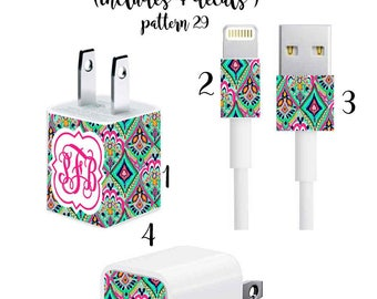 Iphone Charger Wrap, Monogram Iphone Charger Decal with Quatrefoil Monogram in Pattern 29