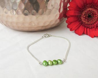 CLEARANCE Green pearl bar bracelet, elegant spring green freshwater pearl bracelet in silver plated lead and nickel free, handmade in the UK
