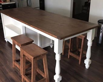 Kitchen Island W/ Seating, Wood Kitchen Island, Custom Made Kitchen Design,  Utility