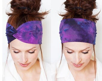 Purple Turban Watercolor Prints Headband Workout Headband Yoga Headband Purple Headband Head wrap Turban Women accessories Gift for Her