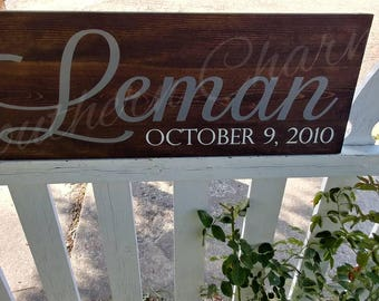 Family name sign. Established date. Home decor, wedding, anniversery. Gift. Wooden sign