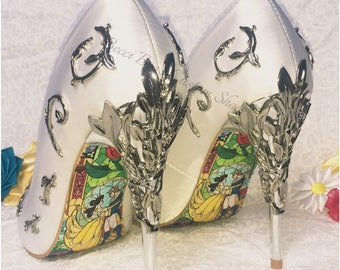 Beauty and the Beast Shoes Pointed Toe Wedding with Metal Leaf Detailing. Beautiful Bridal Heels Handmade Soft Comfortable Disney Inspired