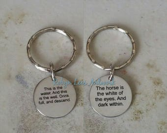 Small Engraved Stainless Steel This Is The Water Twin Peaks Double Sided Disc Keyring on Split Ring or Bag Clip. Woodsman