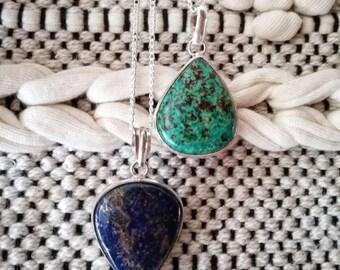 Pendant necklace lapis lazuli blue or turquoise amazonite plated silver, boho necklace