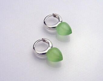 Easy to wear creole hoop earrings in glowing lime green chalcedony & sterling silver
