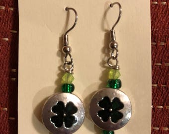 St. Patrick's Day 4 leaf clover earrings