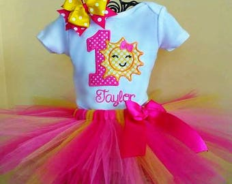 Sunshine 1st Tutu Birthday Outfit, Pink and Yellow 1st Birthday Tutu Outfit