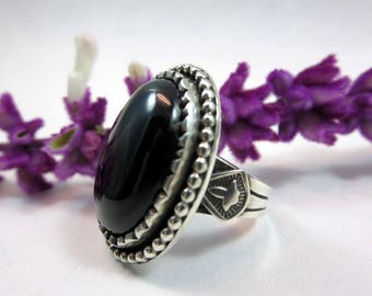 Black Onyx Cocktail Ring, size 8, Sterling silver, bohemian ring, Black gemstone ring, Statement ring, Gypsy Boho Jewelry, unisex ring