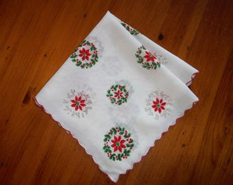 Vintage Christmas HollyPointsettia Scalloped Hankie - Vintage Green Red X-mas Wreath Holly Holiday Hankie - Vintage Christmas Holidays Linen