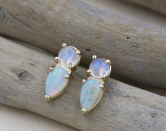 Opal Point Studs in 14kt Gold