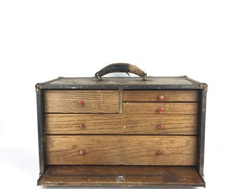 Antique Machinest Chest Tool Box Pull Drawer Cabinet Vintage Machinest Chest Cabinet 1920s Tool Box Chest of Drawers Cabinet