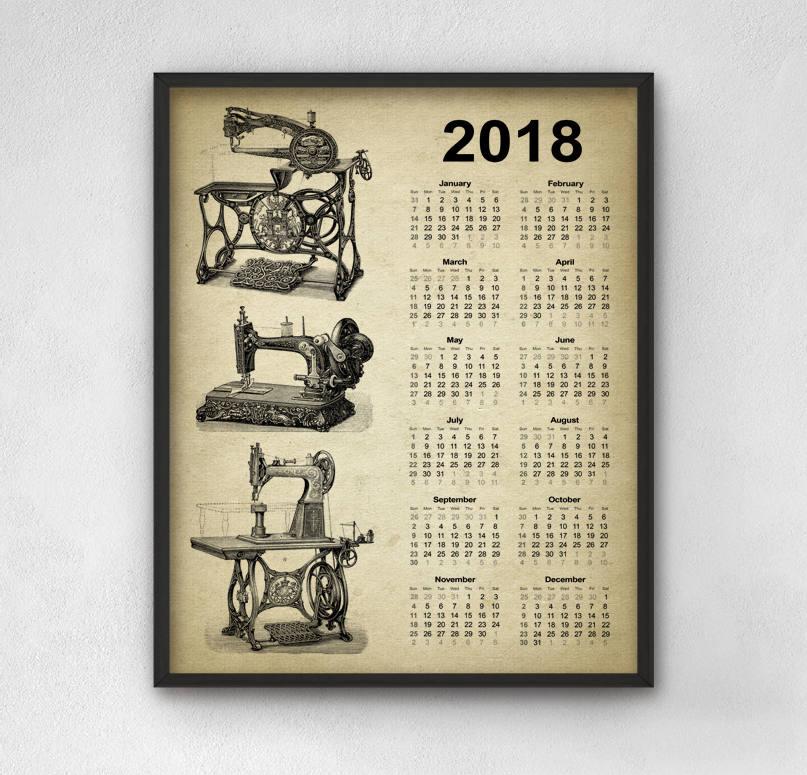 2018 Calendar Vintage : Vintage sewing machine calendar design