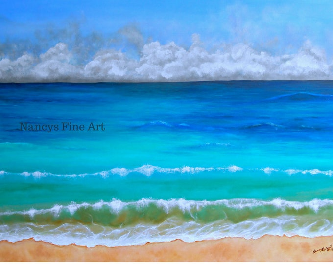 Ocean beach painting available on fine art paper and stretched canvas. Original art by Nancy Quiaoit.