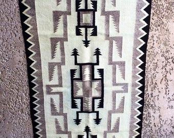 1960's Gray/Black & Tan Handwoven Spider Woman Design Navajo Wool Rug