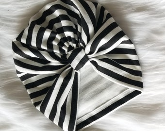Black and White Stripe Organic Baby Turban