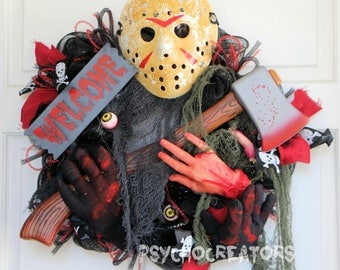Halloween Jason Wreath, Friday the 13th Movie Inspired Decoration, Black Red Horror Deco Mesh Wreath, Hockey Mask Killer
