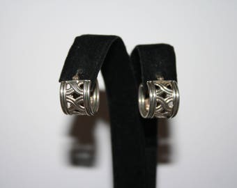 Vintage Sterling Silver Hoop Celtic Knot Earrings