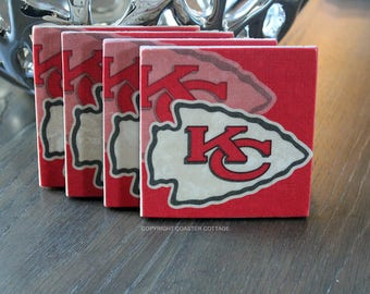 Kansas City Chiefs Coasters - Kansas City Chiefs Gift - Kansas City Chiefs Football - Kansas City Chiefs Decor - Chiefs Gifts - Chiefs Decor