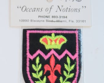 Vintage Patch, Coat of Arms, Applique, NOS Original Packaging, Black Velvet Background w/ Fluorescent Colors in Yellow, Green, Pink, and Red
