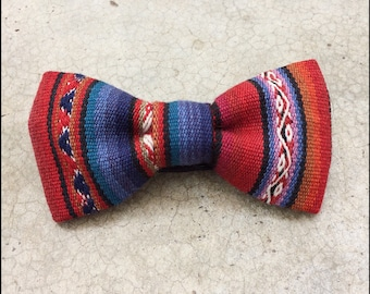 Andean Textile Blue & Red Bow Tie