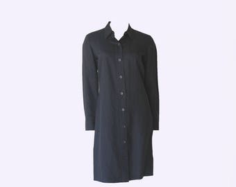 Y2K Linda Allard Ellen Tracy Black Linen Long Sleeve Shift/Shirt Dress
