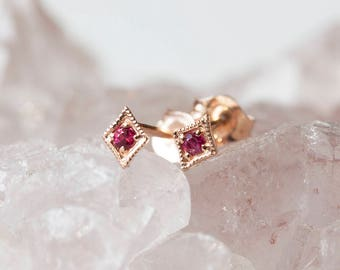 Ruby stud earrings in solid 14k gold, rose gold, white gold, star ruby earring, tiny ruby earrings, small dainty ruby studs, sta-e101-rub