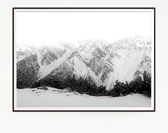 Printable Mountains Forest Wall Decor Nordic Art Print Poster Scandinavian Monochrome Black White Nature Wilderness Minimalist Snow 1051