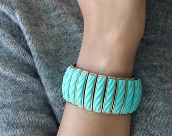 Vintage Trifari Turquoise wide Bracelet - Statement Bracelet