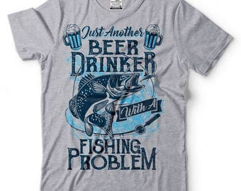 Fishing T-Shirt Funny Beer Drinker Outdoor Life Humor Fishing Apparel Tee Shirt