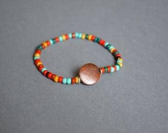 Colorful Beaded Stretch Bracelet, Friendship Bracelet, Handmade Bracelet, Gift Under 10 Dollar, Gift For Him, Gift For Her, Boho Bracelet.