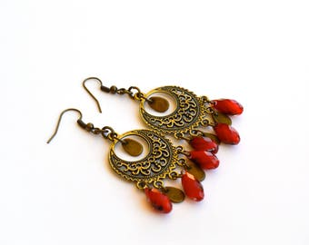 Gypsy Earrings, Boho Earrings, Tribal Earrings, Handmade Jewelry, Earrings, Bohemian Jewelry, Gift For Her, Earrings Under 25 Dollar, Red.