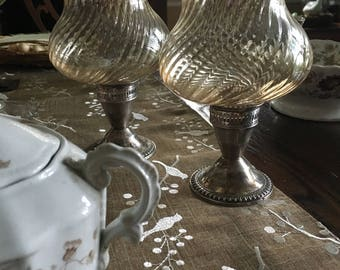 Lovely Pair of Opalescent Glass and Sterling Silver Vintage Candle Holders.