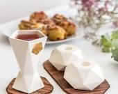 Judaica set, Jewish wedding gift, Pair of white  Hexagon Shabbat candlesticks + Kiddush cup with gold vine leaf accent, Handmade in Israel