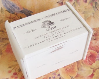 Farmhouse Recipe Box, French Recipe Card Box, Wooden,  3x5,  French Bakery, French Country