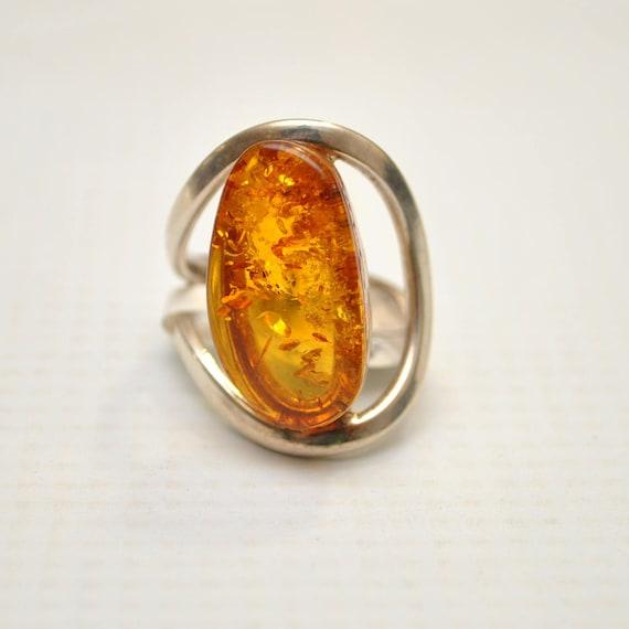 Sterling Silver Honey Amber Adjustable Ring #9292