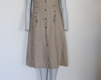 Vintage  Beige Brown Button Up Dress Uniform Style  Sleeveless Linen Summer Secretary dress